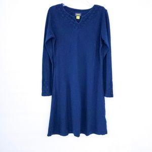Cabelas Navy Blue Long Sleeve Cotton Dress Small